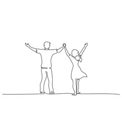 happy couple holding hands up together one line vector image
