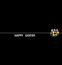 Happy easter egg set white line colorful painting vector