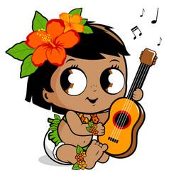 Hawaiian baby girl playing ukulele vector