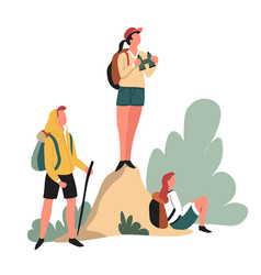 hikers backpacks and binocular hiking outdoor vector image