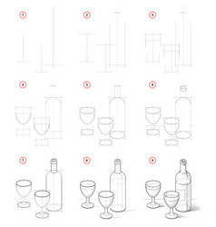 How to draw still life with bottle vine and vector