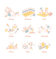 interesting activity to do during school holiday vector image