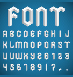 isometric alphabet and numbers vector image