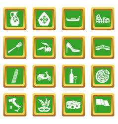 Italia icons set green vector