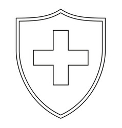 Line art black and white shield with medical cross vector