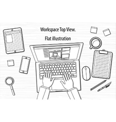 line business office workspace items concept of vector image