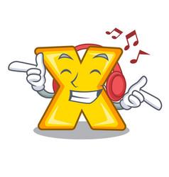 Listening music cartoon multiply sign for vector
