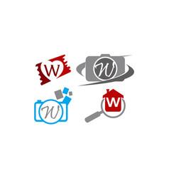 logotype w modern template set vector image