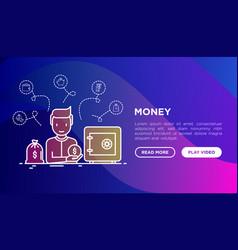 money concept man near safe and bag gold vector image