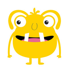 Monster yellow silhouette two eyes tooth tongue vector