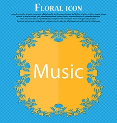 Music sign icon Karaoke symbol Floral flat design vector