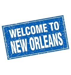 New Orleans blue square grunge welcome to stamp vector