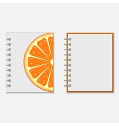 Notebook cover design with bright orange vector