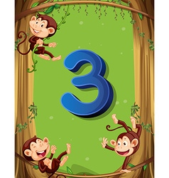 Number three with 3 monkeys on tree vector