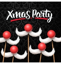 Office christmas party card santa moustache vector