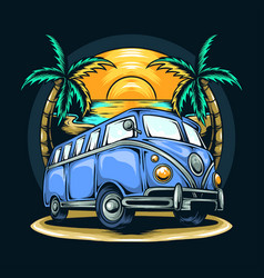 Old van among coconut trees in summer on beach vector