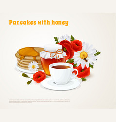 Pancakes with honey composition vector