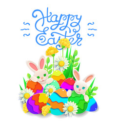 Papercut happy easter card with rabbit eggs vector