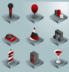 party color gradient isometric icons set vector image