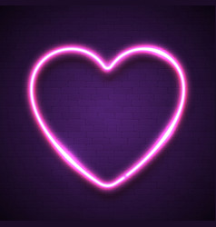 pink heart background on dark violet brick wall vector image