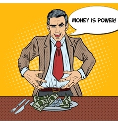 Pop Art Rich Greedy Businessman Eating Money vector