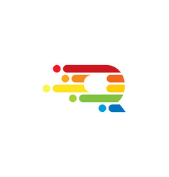 q colorful letter speed pixel logo icon design vector image
