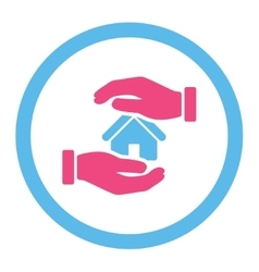 Realty insurance flat pink and blue colors rounded vector