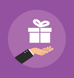 receiving a gift box concept vector image