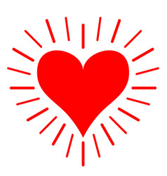 red heart shining line icon happy valentines day vector image