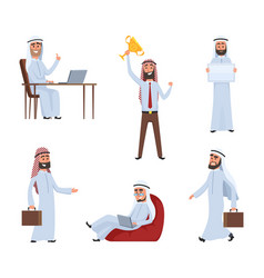 saudi peoples at work arabic cartoon characters vector image