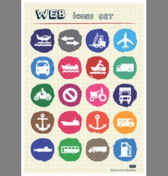 Sea work road transport and signs drawn by chalk vector image