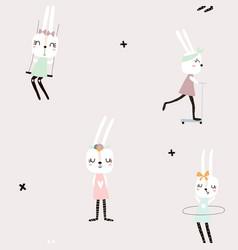 Seamless pattern with cute rabbit girls creative vector
