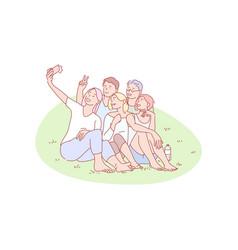 Selfie friend gathering joy rest concept vector