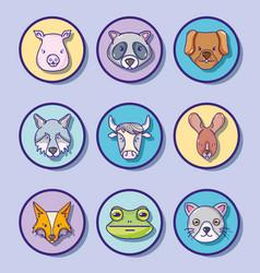 set cute natural animals design vector image