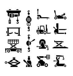 Set icons of lifting equipment vector image