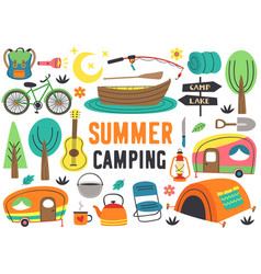 Set isolated summer camping elements part 2 vector