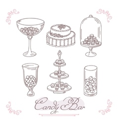 Set of candy bar objects Bakery goods clip art vector