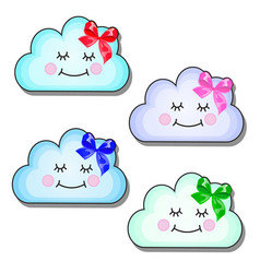Set of funny smiling clouds with ribbon bow vector