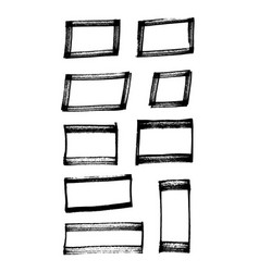 set of marker hand-drawn squares broad marker vector image