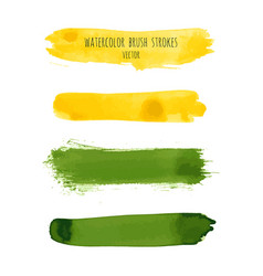 set of yellow grass green watercolor stripes vector image
