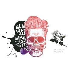 Skull Hipster silhouette with mustache glasses vector