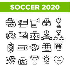 Soccer champion 2020 collection icons set vector