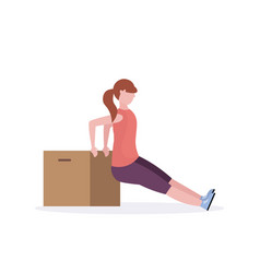 sporty woman doing exercises with wooden box girl vector image