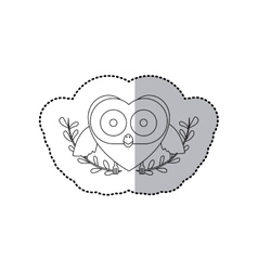 Sticker monochrome with half shadow and owl vector