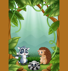 The little hedgehogs and raccoons are happy in the vector