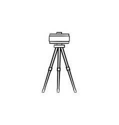 Theodolite on tripod hand drawn sketch icon vector