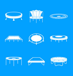 Trampoline jumping park icons set simple style vector