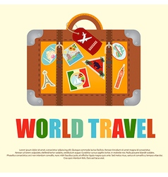 Travel Suitcase with Stickers from around the Worl vector