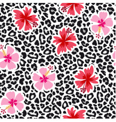 tropical seamless background with hibiscus flowers vector image