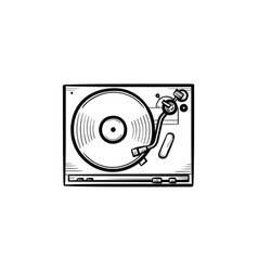 Turntable sound mixer hand drawn outline doodle vector